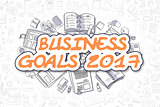 Business Goals 2017 - Doodle Orange Word. Business Concept.