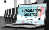 Automation Logistics on Laptop in Conference Hall. 3D.