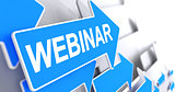Webinar - Inscription on the Blue Arrow. 3D.