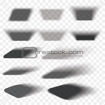Box shadow set transparent with soft edges isolated on checkered