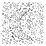 Contour image of moon crescent and stars in zentangle inspired doodle style. Square composition.