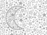 Contour image of moon crescent and stars in zentangle inspired doodle style. Horizontal composition.