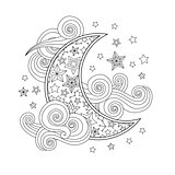 Contour image of moon crescent clouds stars in zentangle inspired doodle style isolated on white.