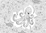 Coloring page with ornate octopus isolated on white background.