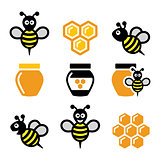 Bee and honey, honeycomb vector icons set