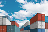 export import cargo containers bulk in port or harbor 3d illustration