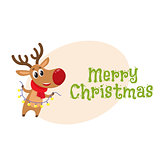 Funny Christmas reindeer in red scarf holding a garland