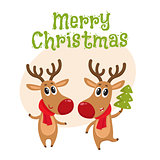 Christmas reindeer in red scarf, cartoon vector illustration