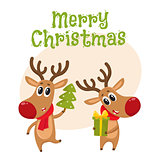 Christmas reindeer in red scarf, cartoon vector illustration
