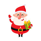 Funny Santa Claus holding Christmas gift and waving hand