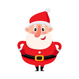 Cute and funny Santa Claus with round belly, vector illustration