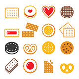 Biscuit, cookie - food, dessert, sweets vector icons set