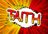 Faith - Comic book style word.