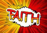 Faith - Comic book style word.