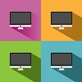 Computer icon with shade on colored backgrounds