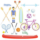 Sports and leisure illustration collection isolated