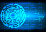 abstract background blue circle arrow technology