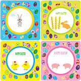 set colorful greetings with easter motifs