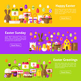 Happy Easter Web Horizontal Banners