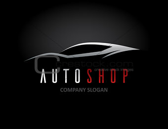 Auto car dealer logo design with concept sports vehicle silhouet