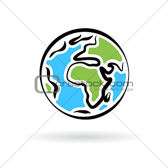Abstract planet earth icon isolated on white background. Vector