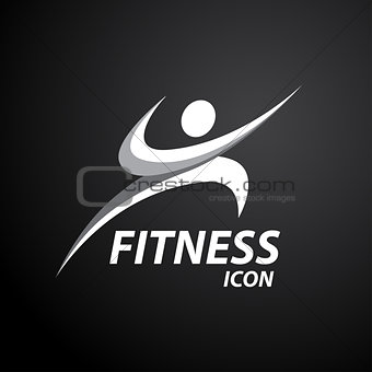 Fitness logo with abstract healthy body wellness icon. Vector il