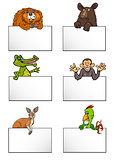 animals with cards cartoon set