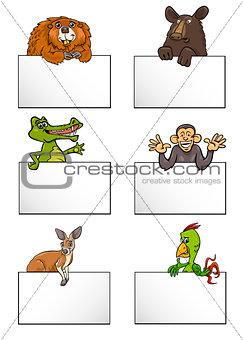 animals with cards cartoon set