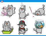 cat humor characters set