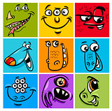 cartoon monster character set