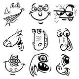 black and white cartoon monsters