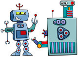 robot characters cartoon illustration