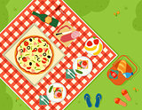 summer picnic in park banner