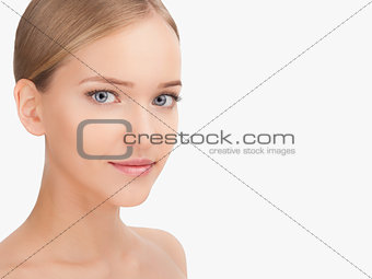 Beauty Woman face Portrait. Skin Care Concept Isolated on a white background