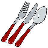 Cutlery with red handle