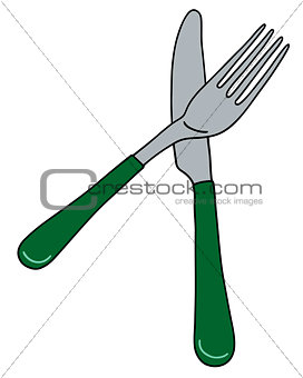 Cutlery with green handle