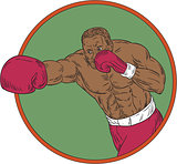African-American Boxer Right Hook Circle Drawing
