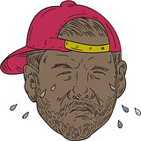 African-American Rapper Crying Drawing