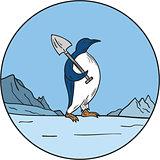 Emperor Penguin Shovel Antartica Circle Mono Line