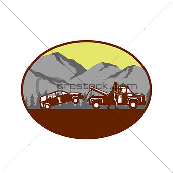 Car being towed Away Mountains Oval Woodcut