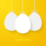 Easter greeting card with hanging paper eggs.