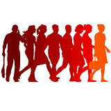 Set red silhouettes of beautiful man and woman on white background. Vector illustration