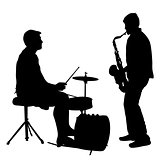 Silhouette musician, drummer and saxophonist on white background, vector illustration