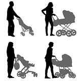 Set black silhouettes Family with pram on white background. Vector illustration