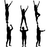 Set Black silhouette two acrobats show stand on hand. Vector illustration