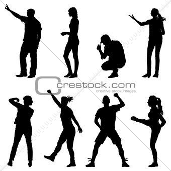 Black set silhouettes of beautiful man and woman on white background. Vector illustration