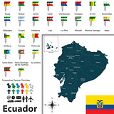 Map of Ecuador with flags