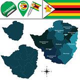 Map of Zimbabwe with Named Provinces