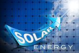 Solar Energy - Blue Arrow and Solar Panel