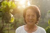 Asian seniors woman at outdoor